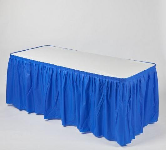 Plastic Table Cover & Skirt Combo - 6' Banquet Blue