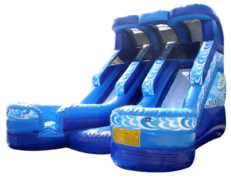 19' High Double Lane Blue Water Slide