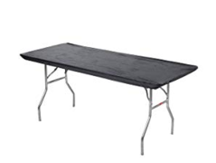 "Plastic Fitted Table Cover- 48"" Banquet Black"