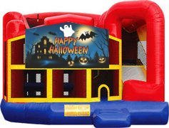 Happy Halloween Ghost Premiere 5-in-1 Extra Large Combination Bounce, Slide and Play Ride
