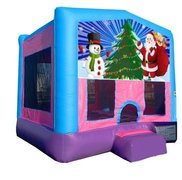 Santa and Snowman Pink Playtime Bounce House w/Hoop - Medium