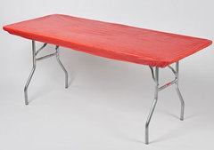 "Plastic Fitted Table Cover- 48"" Banquet Red"