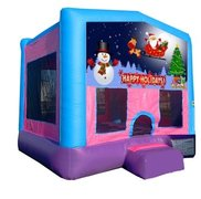 Happy Holidays Pink Playtime Bounce House w/Hoop - Medium