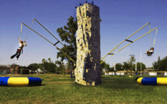 Rock Climbing Wall with Spider Jump Stations - 25 Feet High