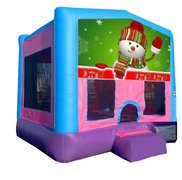 Snowman Pink Playtime Bounce House w/Hoop - Medium