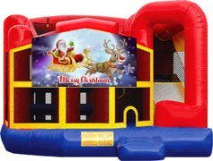 Merry Christmas Santa and Rudolph Premiere 5-in-1 Extra Large Combination Bounce, Slide and Play Ride