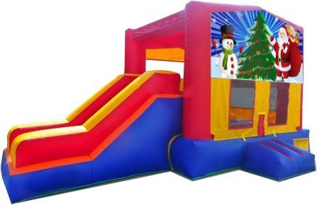 z Santa and Snowman Playtime Jump and Side Slide - Large