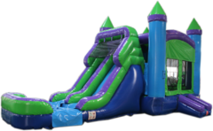 XLarge Blue and green Combo with water Slide, same day drop off and pick up or weekend rental, drop off Friday, pick up Monday for same one day price