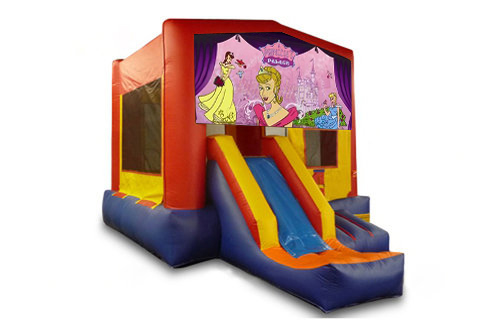 Red And Blue Princess Bounce House With Slide