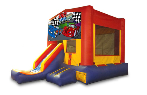 Red And Blue Cars Bounce House With Slide