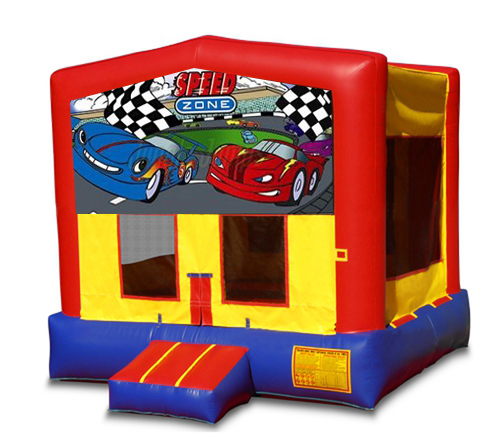 Blue And Red Cars Bounce House