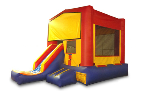 Red And Blue Bounce House With Slide