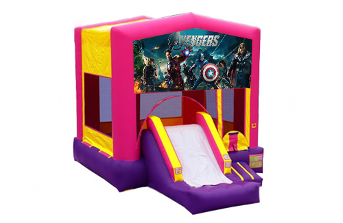 Pink And Purple Avengers Bounce House With Slide