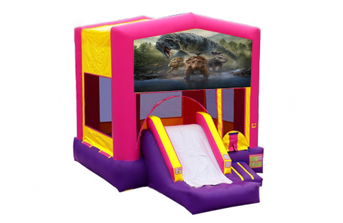 Pink And Purple Dinosaur Bounce House With Slide