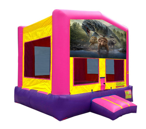 Pink And Purple Dinosaur Bounce House 2
