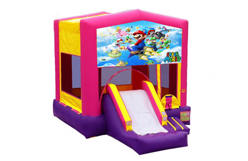 Pink And Purple Mario Brothers Bounce House With Slide 2