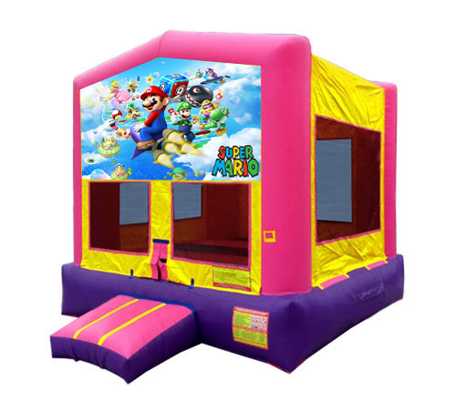Pink And Purple Mario Brothers Bounce House