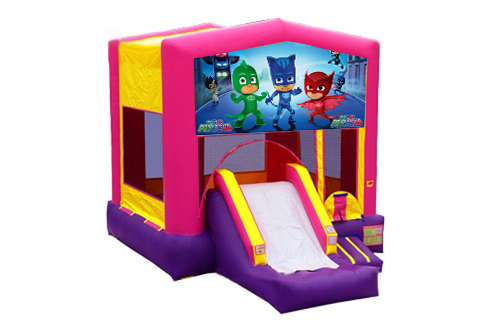 Pink And Purple PJ Masks Bounce House With Slide 2