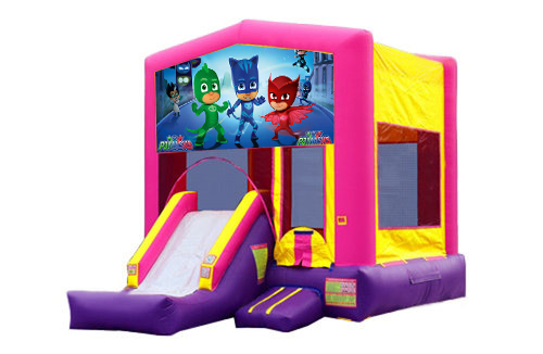 Pink And Purple PJ Masks Bounce House With Slide