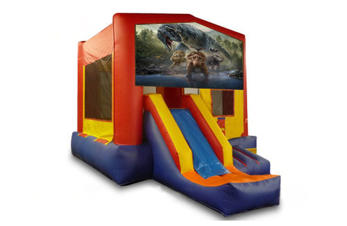 Red And Blue Dinosaur Bounce House With Slide 2