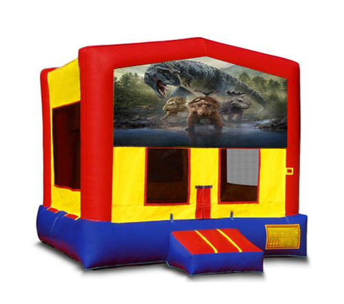 Blue And Red Dinosaur Bounce House