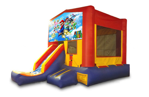 Red And Blue Mario Brothers Bounce House With Slide