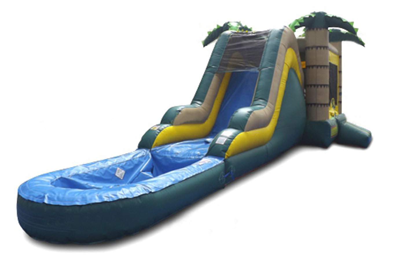 Tropical Combo Water Bounce House With Slide And Pool 2