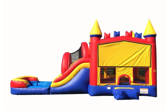 Red And Blue Bounce House With Water Slide And Pool