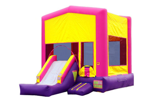 Pink And Purple Bounce House With Slide