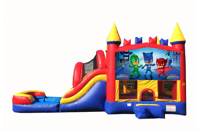 Red And Blue PJ Masks Bounce House With Water Slide And Pool