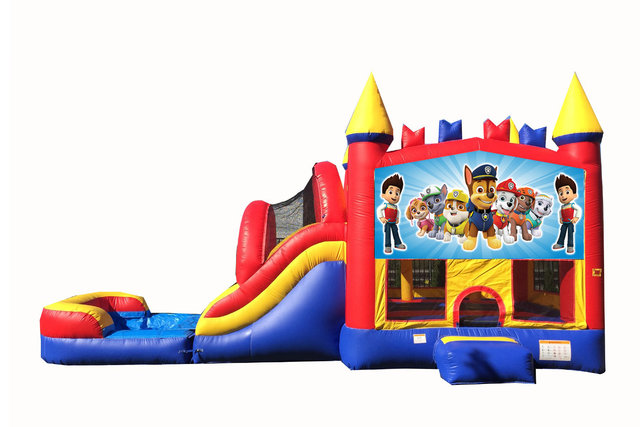 Red And Blue Paw Patrol Bounce House With Water Slide And Pool