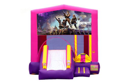 Pink And Purple Fortnite Bounce House With Slide