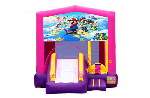 Pink And Purple Mario Brothers Bounce House With Slide