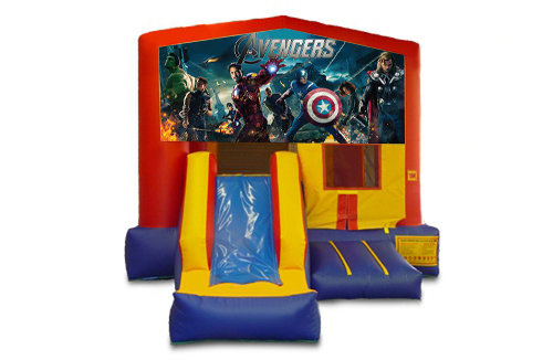 Red And Blue Avengers Bounce House With Slide