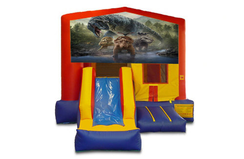 Red And Blue Dinosaur Bounce House With Slide