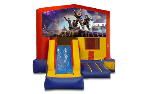 Red And Blue Fortnite Bounce House With Slide