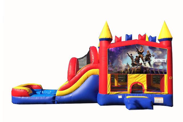 Red And Blue Fortnite Bounce House With Water Slide And Pool