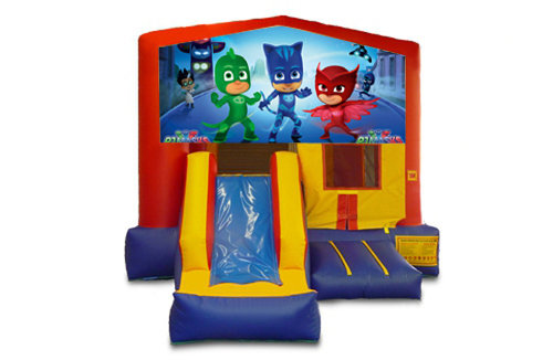 Red And Blue PJ Masks Bounce House With Slide
