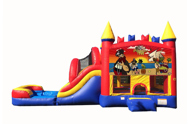 Red And Blue Pirate Bounce House With Water Slide And Pool