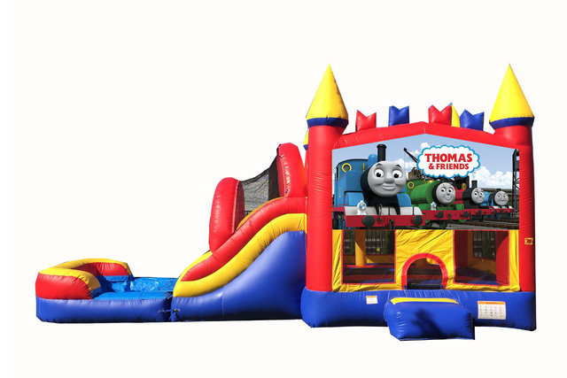 Red And Blue Thomas The Train Bounce House With Water Slide And Pool