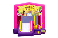 Pink And Purple Birthday Bounce House With Slide
