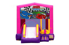 Pink And Purple Cars Bounce House With Slide