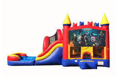 Red And Blue Avengers Bounce House With Water Slide And Pool