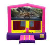 Pink And Purple Dinosaur Bounce House