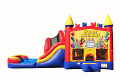 Red And Blue Birthday Bounce House With Water Slide And Pool
