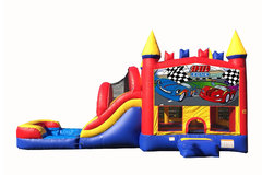 Red And Blue Cars Bounce House With Water Slide And Pool