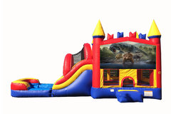 Red And Blue Dinosuars Bounce House With Water Slide And Pool