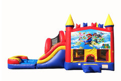 Red And Blue Mario Bounce House With Water Slide And Pool