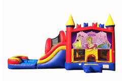 Red And Blue Princess Bounce House With Water Slide And Pool