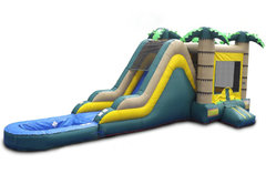 Tropical Water Bounce With Slide And Pool
